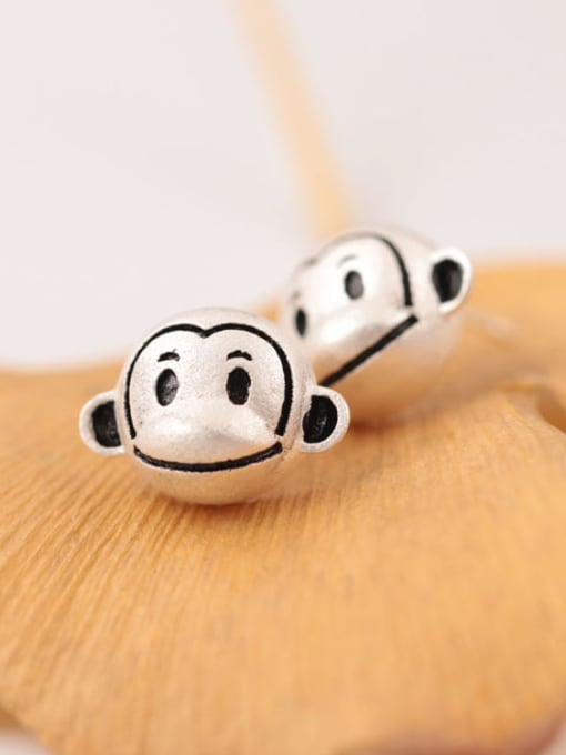 SILVER MI Monkey year new sale 925 Sterling Silver Earrings earpins naughty monkey suit