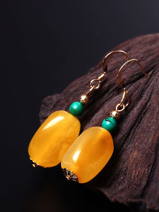SILVER MI Natural  Yellow Beeswax Hook Earrings