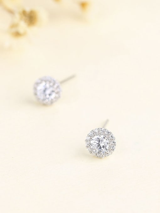 One Silver Temperament Round Shaped Zircon Earrings