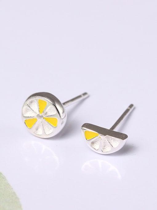 SILVER MI Simple  Asymmetry Fruit Stud Earrings 0