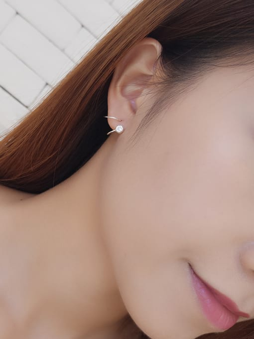 One Silver 925 Silver Spiral Shaped Stud Earrings 1
