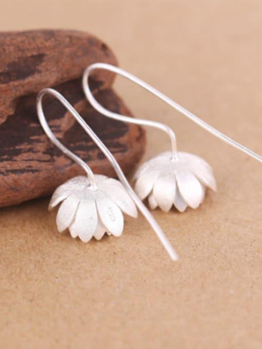 Peng Yuan Ethnic Lotus Flower Silver hook earring 2