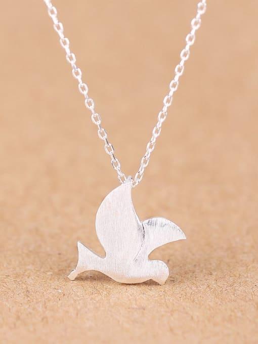Peng Yuan Simple Peace Dove Silver Necklace 0