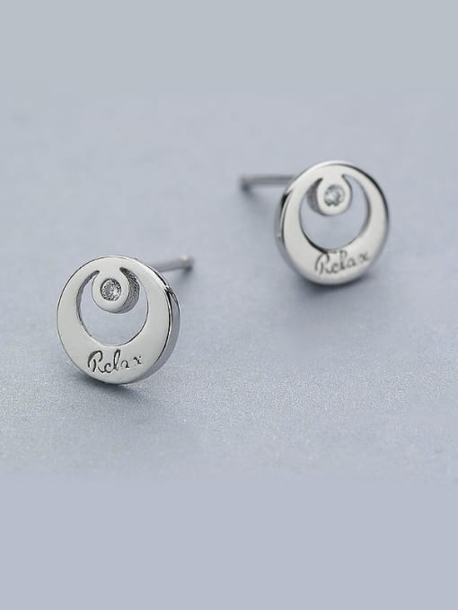 One Silver Simply Round Shaped Stud Earrings