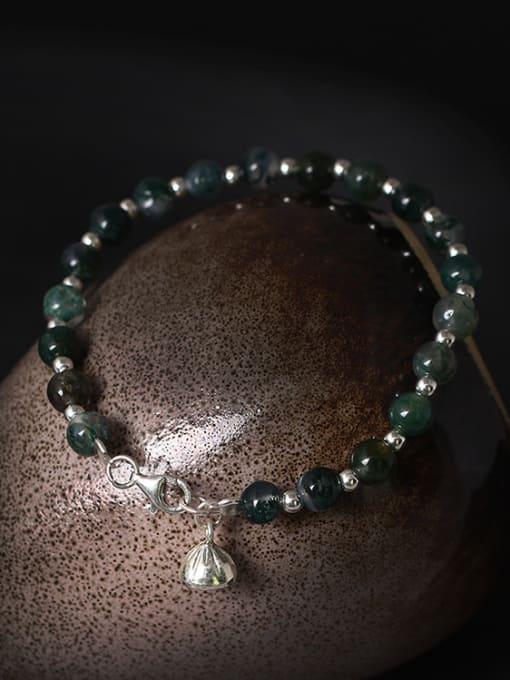 SILVER MI Retro Lotus Aquatic Agate Bracelet 1