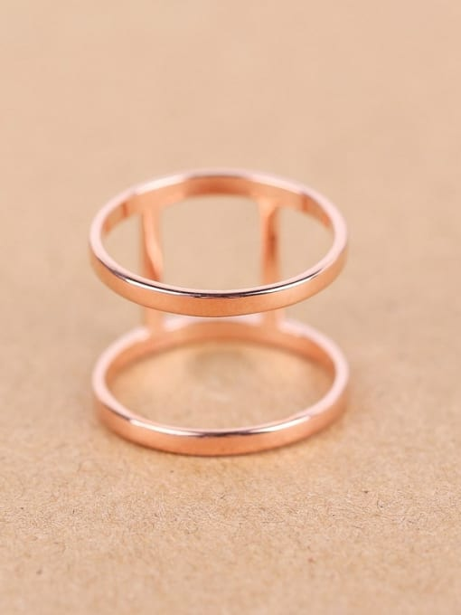 Peng Yuan Simple Two-band Rose Gold Plated Ring 0