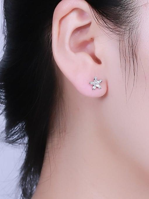 One Silver Women Plum Blossom Shaped stud Earring 1