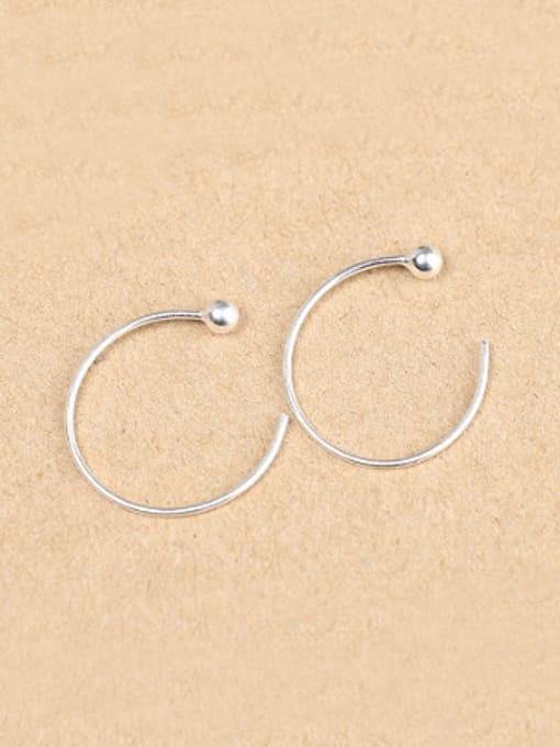 Peng Yuan Simple Silver Round Hook hoop earring 0