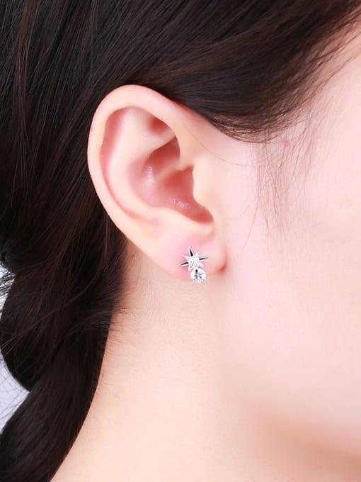 One Silver Elegant Star Shaped stud Earring 1