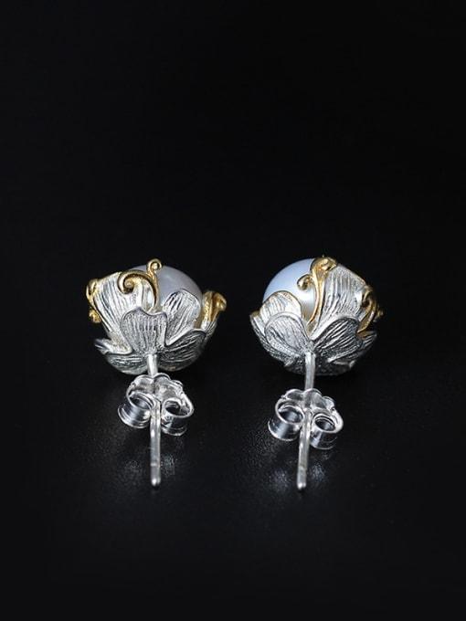SILVER MI Sweet Freshwater Pearl stud Earring 1
