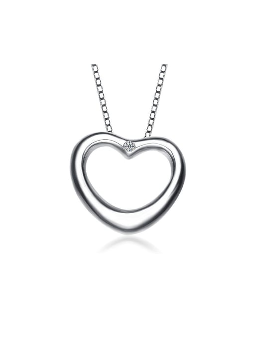 One Silver All-match Heart shaped Pendant 0