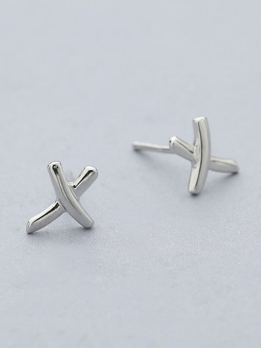One Silver Simply Style X Shaped cuff earring