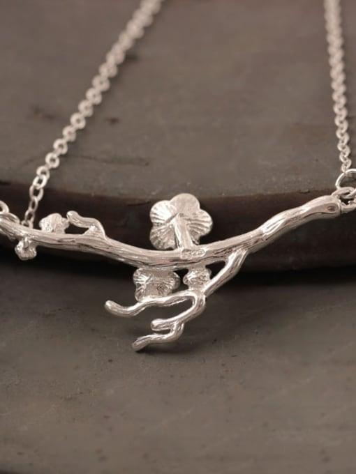 SILVER MI Creative Flower Plum Silver Necklace 2