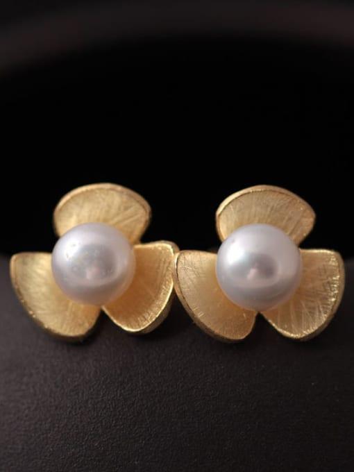 SILVER MI Flower Freshwater Pearls stud Earring 0
