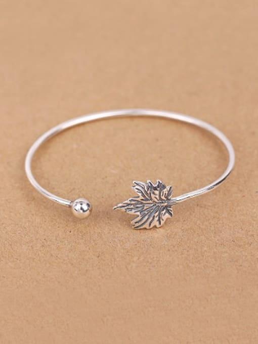 Peng Yuan Maple Leaf Silver Opening Bangle