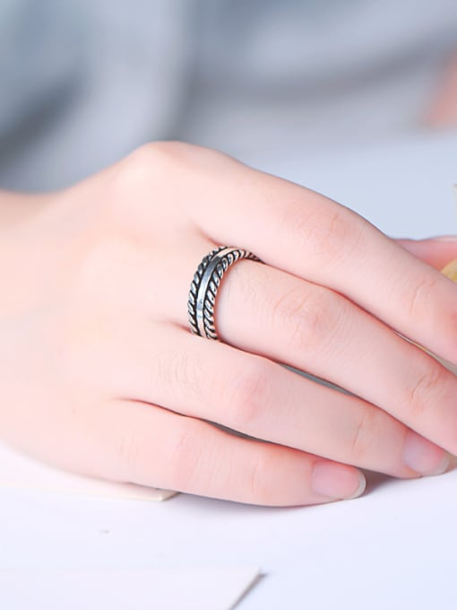 Peng Yuan Retro style Woven Patterns Opening Ring 1