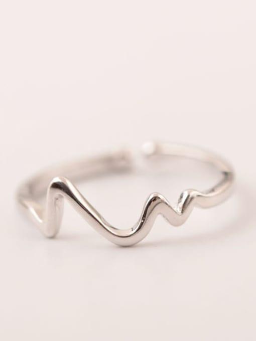 SILVER MI ECG Shape Simple Opening Ring