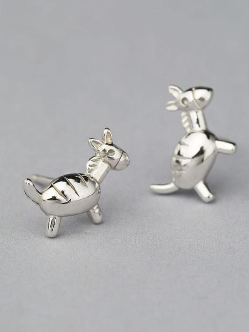 One Silver Cute Donkey Shaped Stud Earrings 2