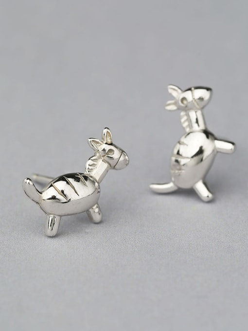 White Cute Donkey Shaped Stud Earrings