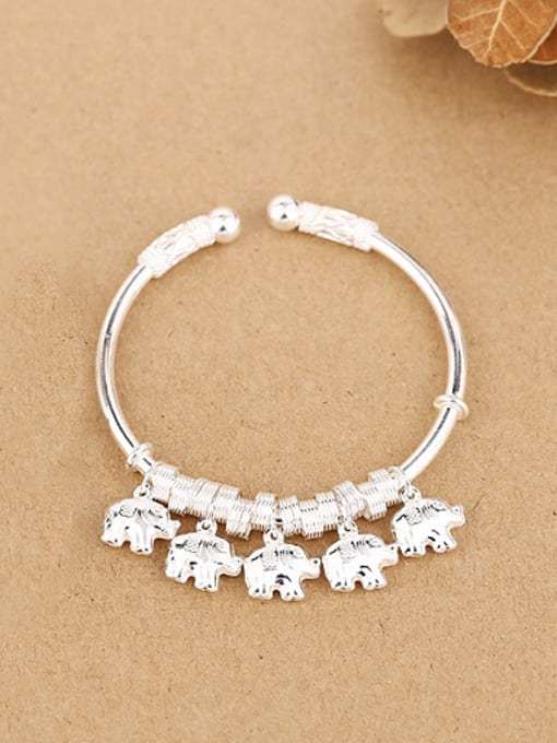 Sterling Silver 2018 Personalized Little Elephants Opening Bangle