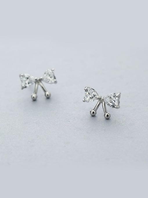 One Silver Women Bowknot Shaped Zircon earring