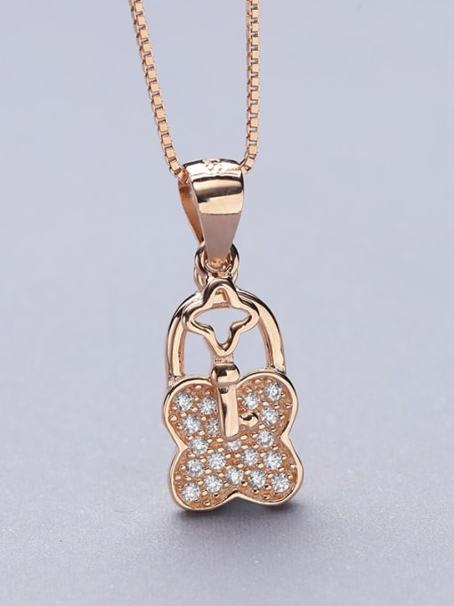 One Silver Rose Gold Plated Clover Shaped Pendant 2
