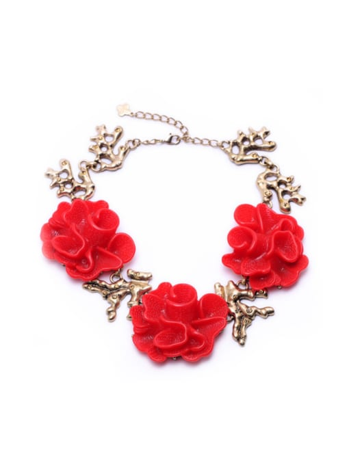 KM Red Flower Exaggerate Women Necklace