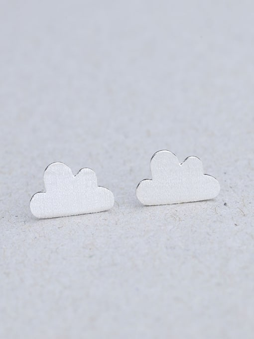 One Silver Women Cloud Shaped Stud Earrings 0