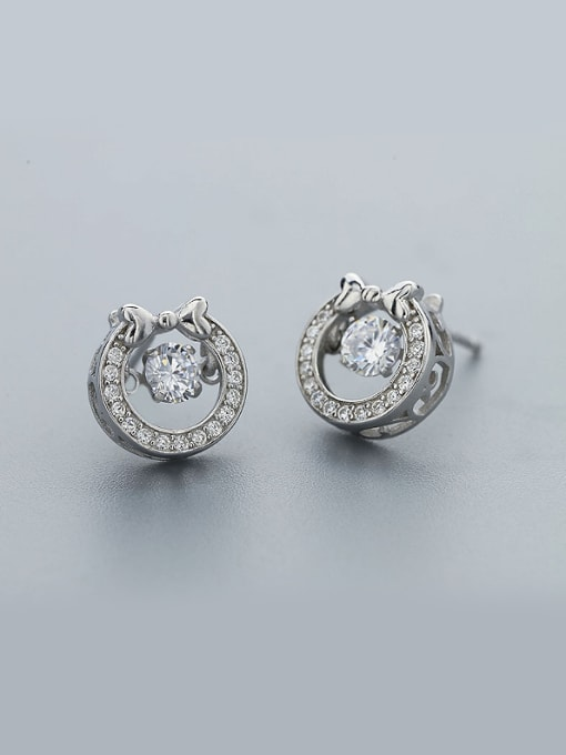 One Silver Women Bowknot Shaped Zircon stud Earring