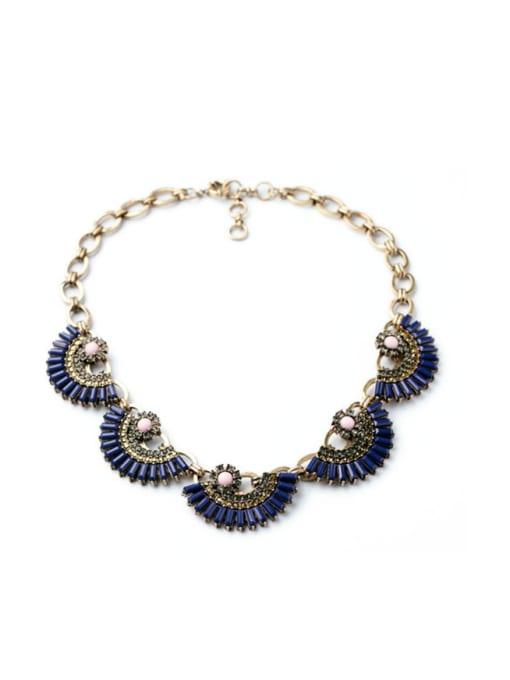 Blue Luxury Fan-shape Women Necklace