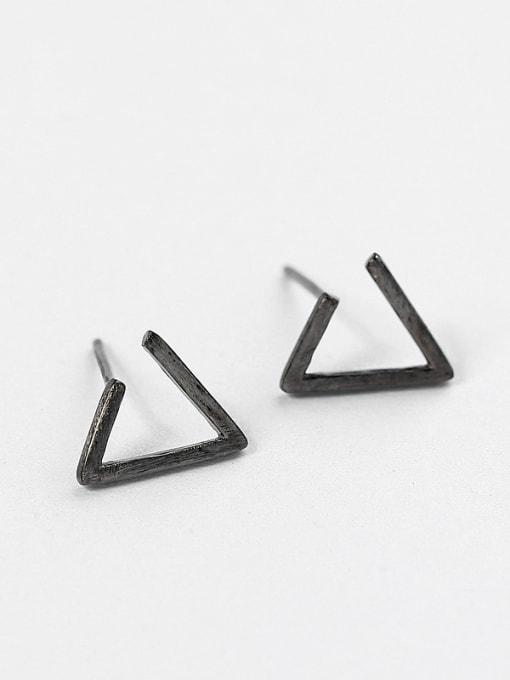 Black Simple Triangle-shaped Silver Stud Earrings