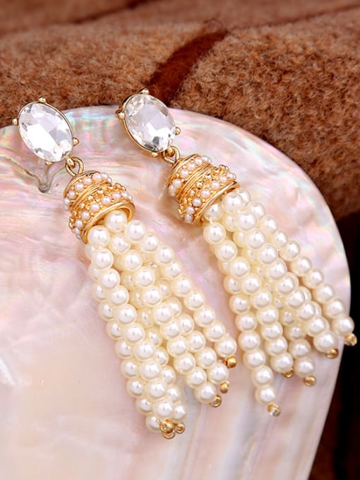 KM White Artificial Stones drop earring 2