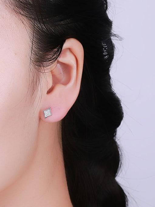 One Silver 925 Silver Diamond Shaped Earrings 1