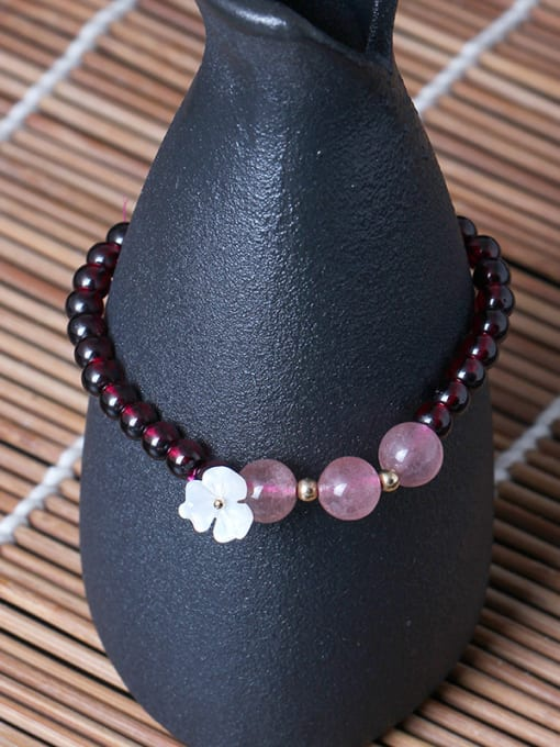 SILVER MI Natural Garnet Shell Flower bracelet 2