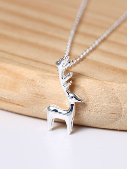 SILVER MI Lovely Deer Pendant Clavicle Necklace 1