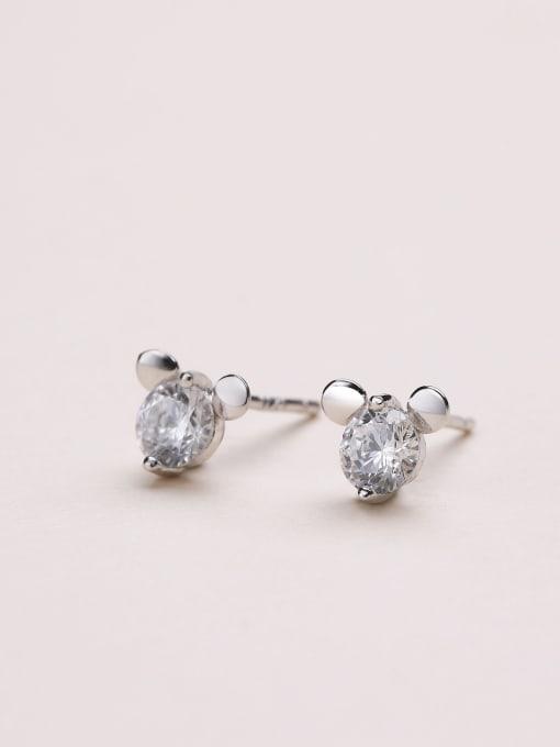 White Lovely Mickey Mouse Zircon cuff earring