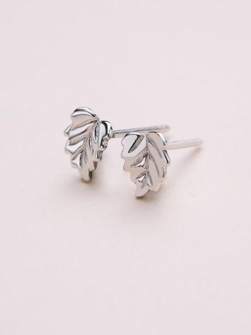 One Silver 925 Silver Leaf Shaped stud Earring 3