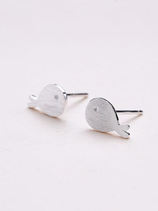 One Silver Women Lovely Fish Shaped Earrings 2