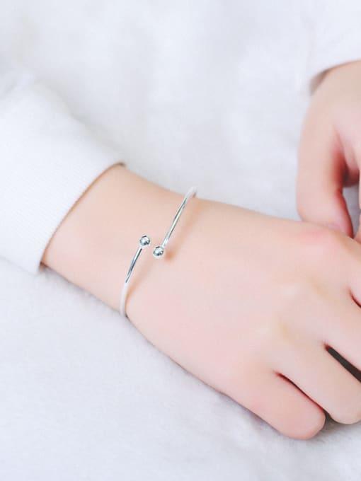Peng Yuan Simple Smooth Silver Opening Ring 1