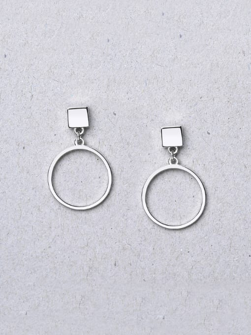 White 925 Silver Elegant Round Shaped hoop earring