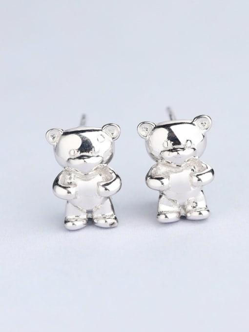 white Cute Bear Shaped Stud cuff earring