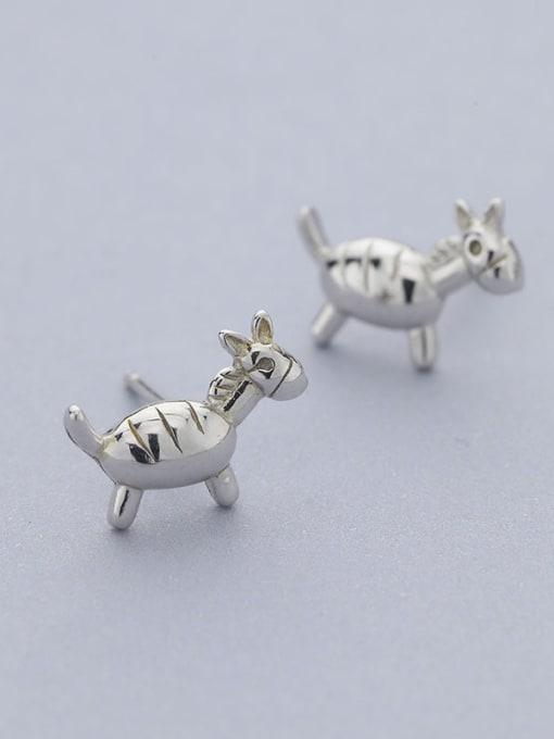 One Silver Cute Donkey Shaped Stud Earrings 0