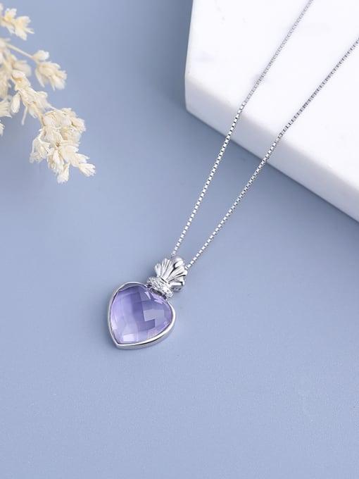 One Silver Purple Heart Shaped Zircon 0