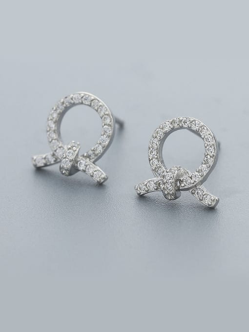One Silver Women Trendy Bowknot Shaped Earrings 0