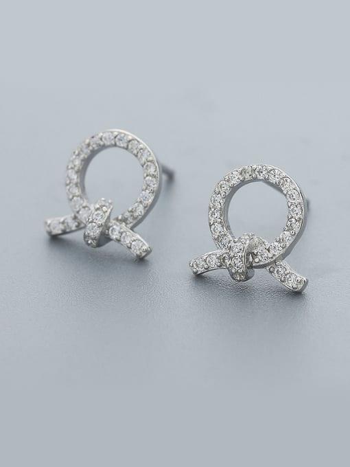 One Silver Women Trendy Bowknot Shaped Earrings