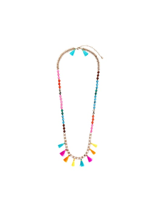 KM Long Colorful Sweater Necklace 0