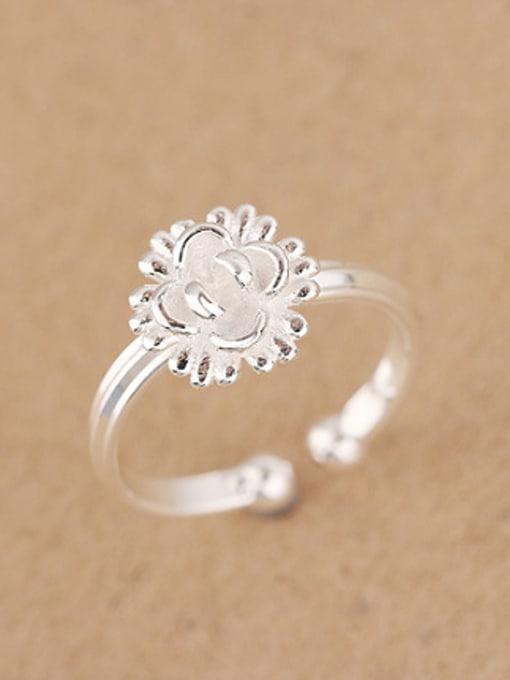 Peng Yuan Fashion Sunflower Silver Opening Ring 1