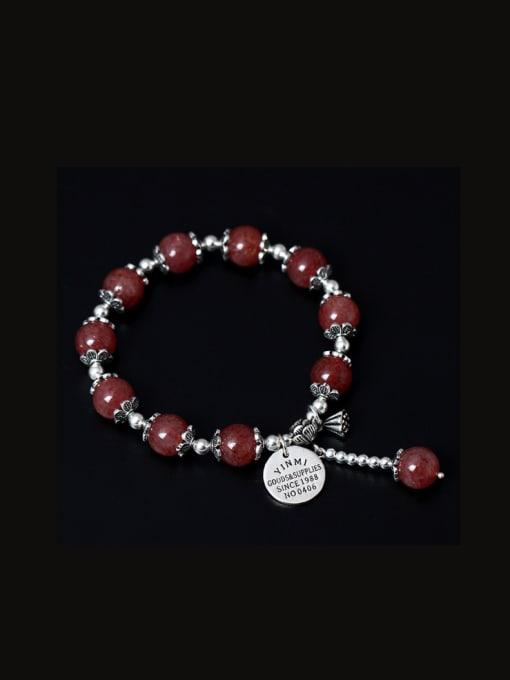 SILVER MI Handmade Lotus Aquamarine Crystal Bracelets 1