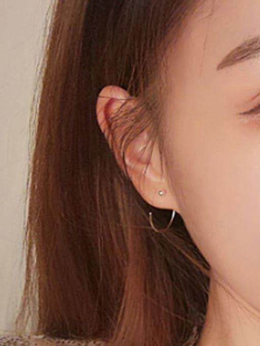 Peng Yuan Simple Silver Round Hook hoop earring 1