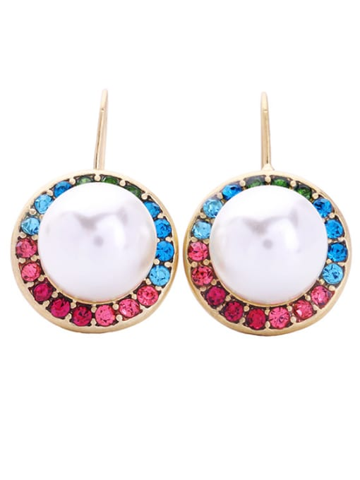 KM Fashion Artificial Pearls Round Ear Hook 0